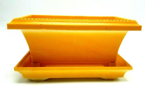 Vintage Plastic Max Klein FAUX CARVED WOOD YELLOW FLOWER HERB Planter
