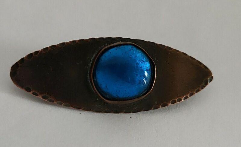 Arts and crafts movement copper brooch enamel cabochon