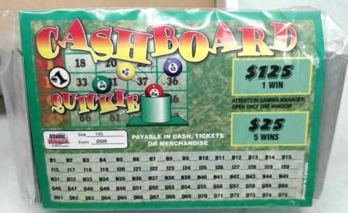 CASH BOARD QUICKIE Pull Tab Ticket 195ct-$120 Profit  2 PACK-FREE SHIPPING
