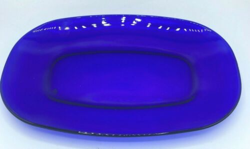 "Vintage Large 14"" x 9 1/2"" Cobalt Blue Glass Rectangle Oval Platter"