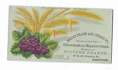 Old Trade Card Boston Frame & Chromo Co Engravings Picture Frames Wheat (Boston Trade Frames)