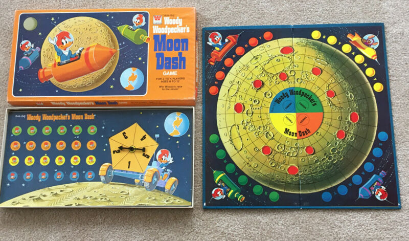1976 Woody Woodpecker's Moon Dash Board Game Space Mouse Unpunched Game Parts