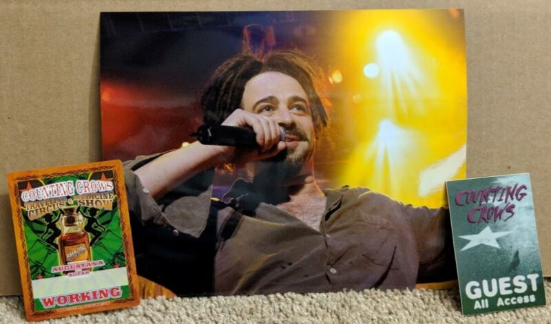 Counting Crows - Original concert photo of Adam Duritz from 2002 with 2 passes