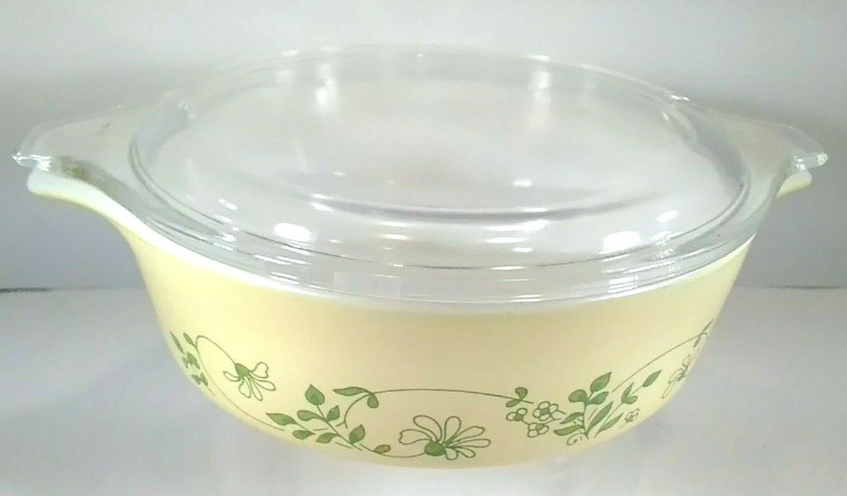 Vintage Pyrex Shenandoah 471 500 Ml Covered Casserole Yellow Green Floral - $14.77