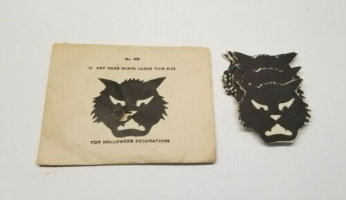 Vintage Halloween Cat Head Cut Outs With Original Envelope