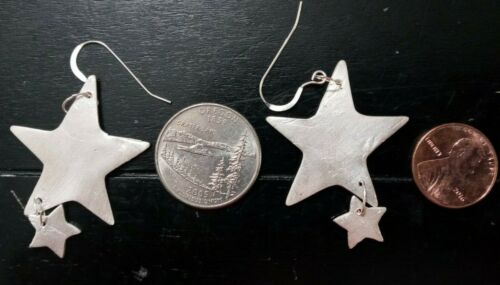 Handcrafted Pure Silver Star Dangle  Earring. From estate sale