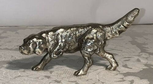 """Vintage Long-Haired Pointer Dog Figurine in Pewter Japan 5 1/2"""" - Free Shipping"""