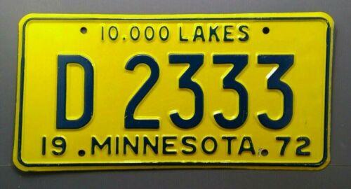 1972 Minnesota Dealer License Plate Tag  # D 2333