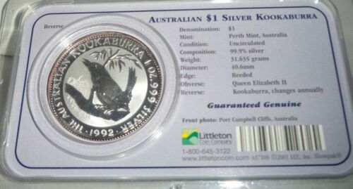 1992 AUSTRALIA $1 Kookaburra .999 SILVER COIN from Perth Mint in Littleton Case