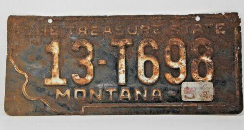 1954 Montana License Plate Antique W Metal Tab 13-T698
