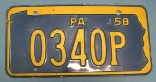 1958 Pennsylvania License Plate nice original