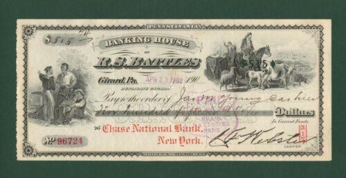 1909 CHASE National Bank New York R.S Battles Banking House Bank Check NICE
