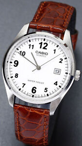 Casio-Mens-Analogue-Quartz-WATCH-Date-Display-Leather-Band-MTP-1175E-7B-New