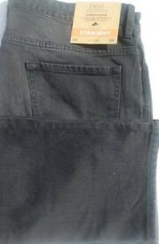 BNWT NEXT BLACK MENS HEANS 36R STRAIGHT CUT STETCH DENIM