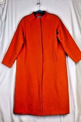 Jessica Petite Coat - JESSICA LONDON Long Wool Coat 16P Petite XL Orange Pockets Mandarin Collar Lined