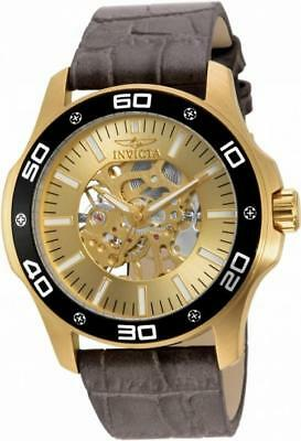 Invicta Specialty 17262 Men's Round Gold Tone Mechanical Analog Leather Watch