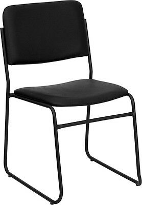 Heavy Duty Black Vinyl Stack Office Chair With Sled Base - Waiting Room Chair