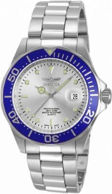 Invicta Pro Diver 14123 Mens Round Silver Tone Blue Analog Date Watch