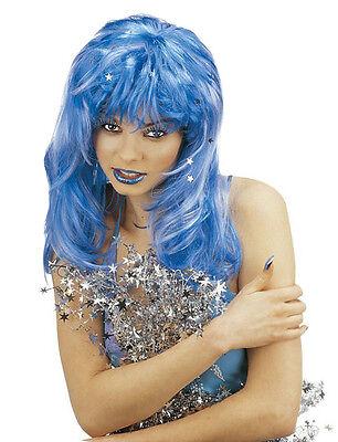 Damen Blau Glitzer Perücke Fairy Queen Pantomime Hexe Halloween - Damen Fairy Queen Kostüm