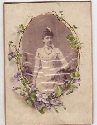 1900s  CDV Pretty noble woman in dress fashion frame antique old German photo