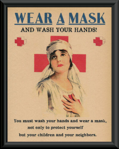 1918 Wash Your Hands Pandemic Poster Reprint On 100 Year Old Paper COVID 240