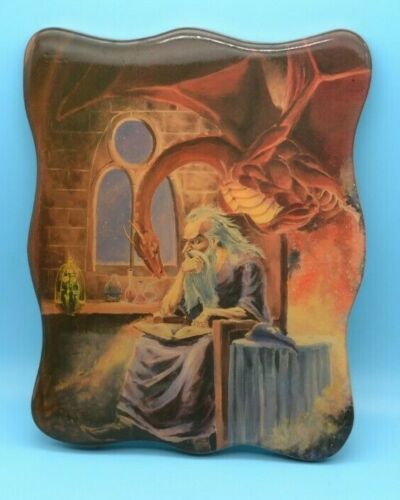 Vintage Wizard Dragon Wood Wall Hanging Merlin Fantasy Mythical Art 9.5 x 7 in