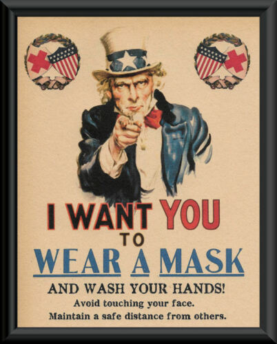 1918 Wash Your Hands Pandemic Poster Reprint On 100 Year Old Paper COVID 241