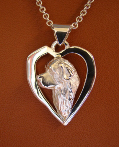 Sterling Silver Newfoundland Head Study On A Free Form Heart Pendant