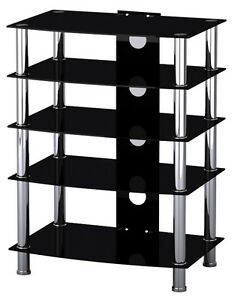 Black Glass & Stainless Steel TV Media Entertainment Unit HiFi or TV Stand 42