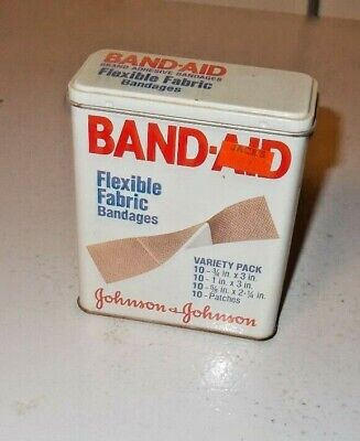 Vintage Band-Aid Flexible Fabric Bandages Tin DATED 1980 CODE 4440 EXCELLENT CON