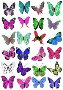 24-x-5CMS-LARGE-VIVID-BUTTERFLIES-COLOURFUL-EDIBLE-CUP-CAKE-WEDDING-TOPPERS-L8