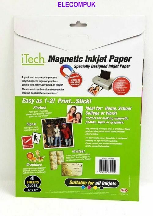 """4"""" X 6""""  MAGNETIC GLOSSY PHOTO SHEETS FOR INKJET PRINTER. 4 SHEETS PER PACK.  1"""