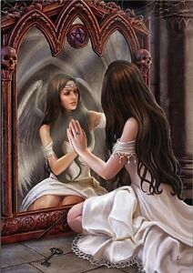 NEW * MAGICAL MIRROR ANGEL  * ANNE STOKES FANTASY ART  BIRTHDAY GREETING CARD