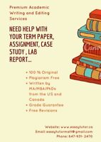 Coursework/Assignments/Essay Help from MA/PhDs