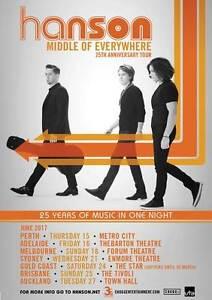 Hanson concert tickets Middle of Nowhere Melbourne CBD Melbourne City Preview
