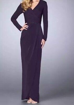 LA FEMME Size 12 Purple  Beaded Waist Jersey Faux Wrap Tulip Skirt Gown Dress Beaded Jersey Skirt