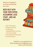 Quality Academic Writing/Editing Services by MA/PhDs