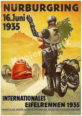 Plakat Nürburgring Eifelrennen Motorrad Rennfahrer Auto Stromlinie Adenau 1935!!