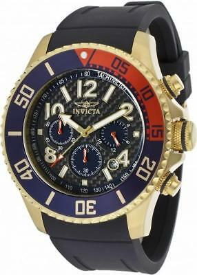 Invicta Pro Diver 13730 Men's Round Carbon Analog Chrongraph Date Watch