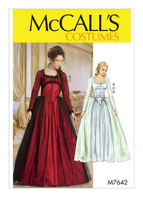 MCCALLS PATTERN 7642 RENAISSANCE OR STEAMPUNK STYLE DRESS SIZE 14-22 NEW UNCUT