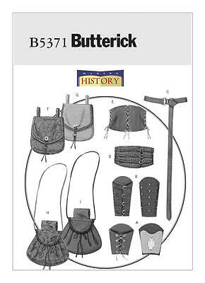 B5371 Sewing Pattern Butterick Historical Warrior Bracers Corset Belts Pouches - Warrior Corset