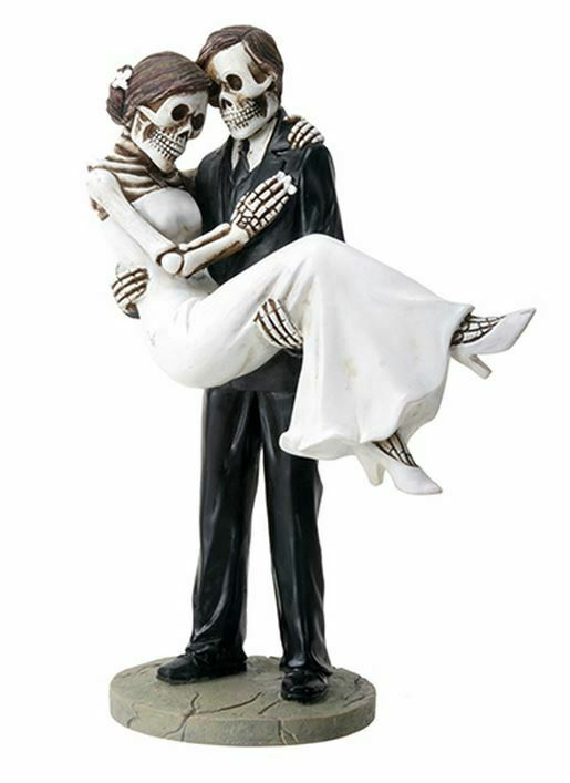 Skeleton Wedding Couple Groom Carrying the Bride Day of the Dead Figurine