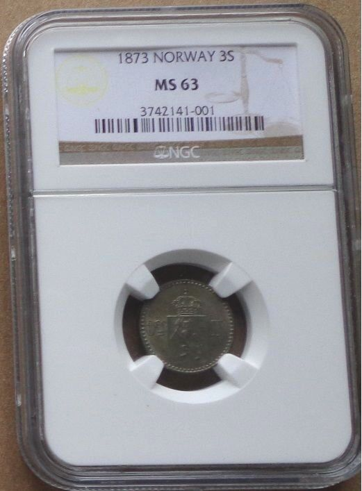 1873 NORWAY SILVER Coin 3 Skilling NGC  MS-63 , SCARCE GRADE