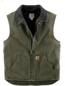 Carhartt Sandstone Sherpa-Lined Mock Neck Vest Medium