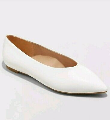Women's Camille Pointed Toe Ballet Flats - White - A New Day Sz - 9