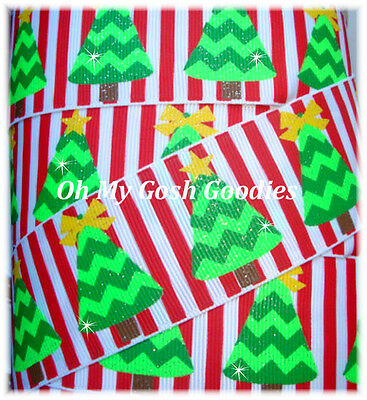 1.5 TERRIFIC TRENDY TREES CHRISTMAS CHEVRON GLITTER RED STRIPE GROSGRAIN RIBBON - Trendy Christmas Trees