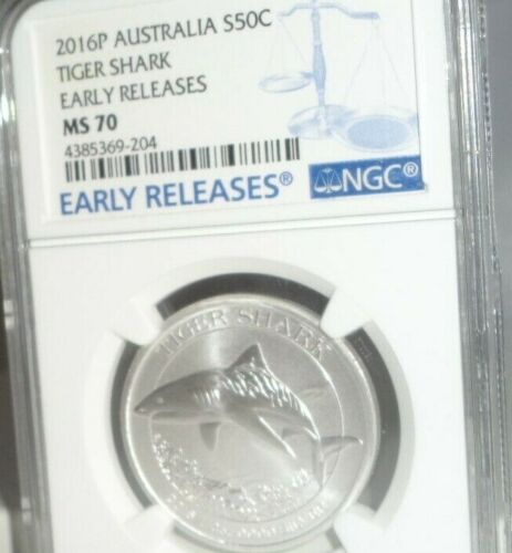2016P AUSTRALIA 50C TIGER SHARK 1/2 Oz .999 Silver Coin NGC MS 70 Early Releases
