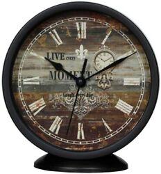 Classic Silent Desk Clock, 6 In Black Non-ticking Decor Wall Clock Easy to Read
