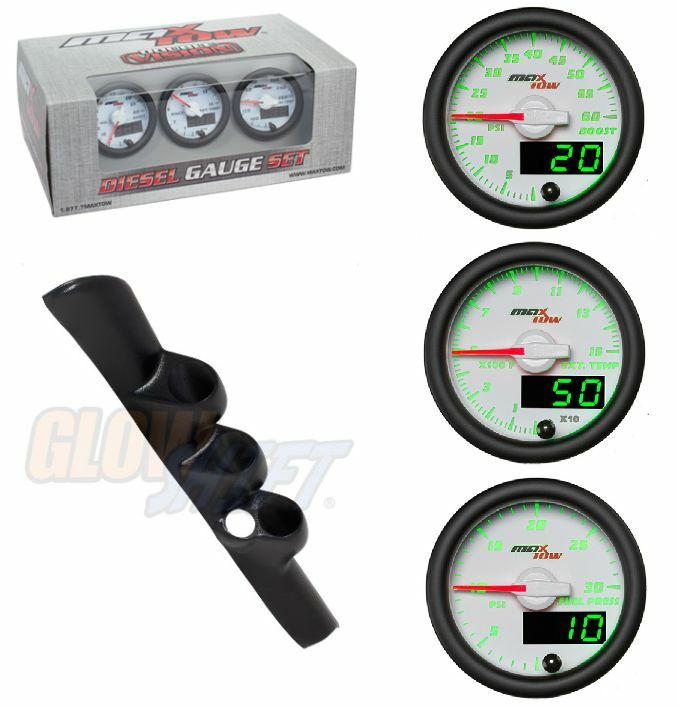 GSMaxTow WhiteSet-Boost,Pyro,FuelPres&Blk Pod w/SpkrHole For 98-02 Dodge Cummins