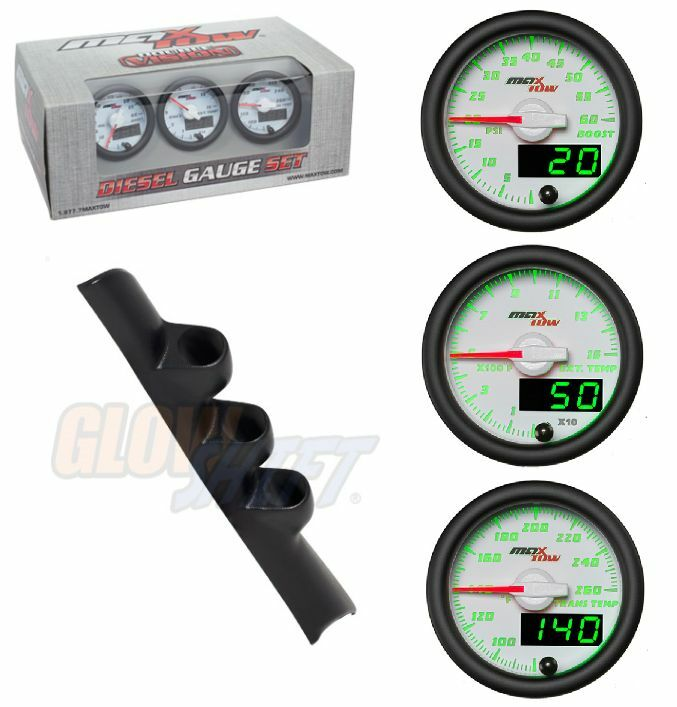 GSMaxTow WhiteDV Diesel Set-Boost,Pyro,TransTemp&Blk Pod For 94-97 Dodge Cummins